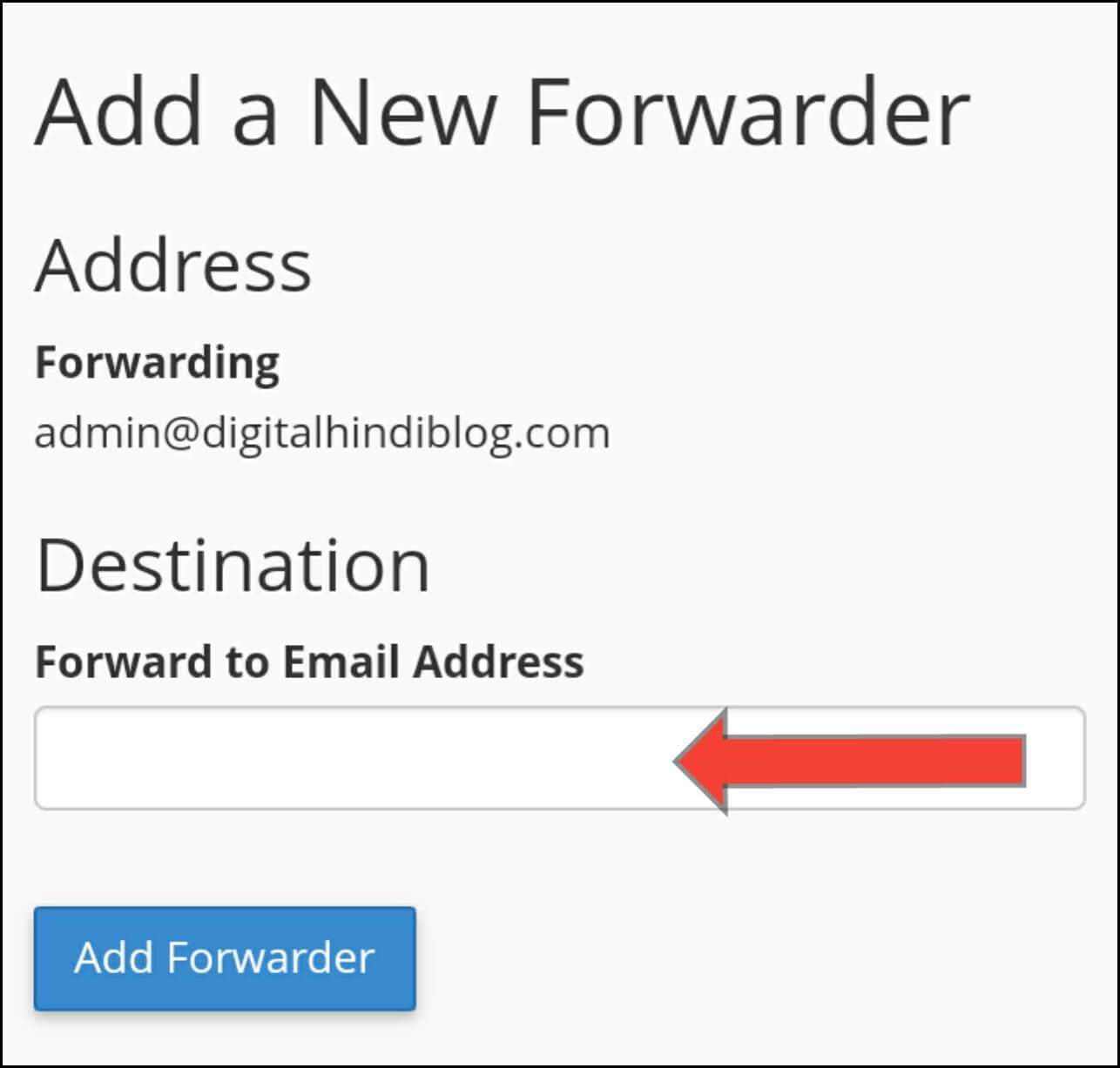 Enter Forward to Email Adress