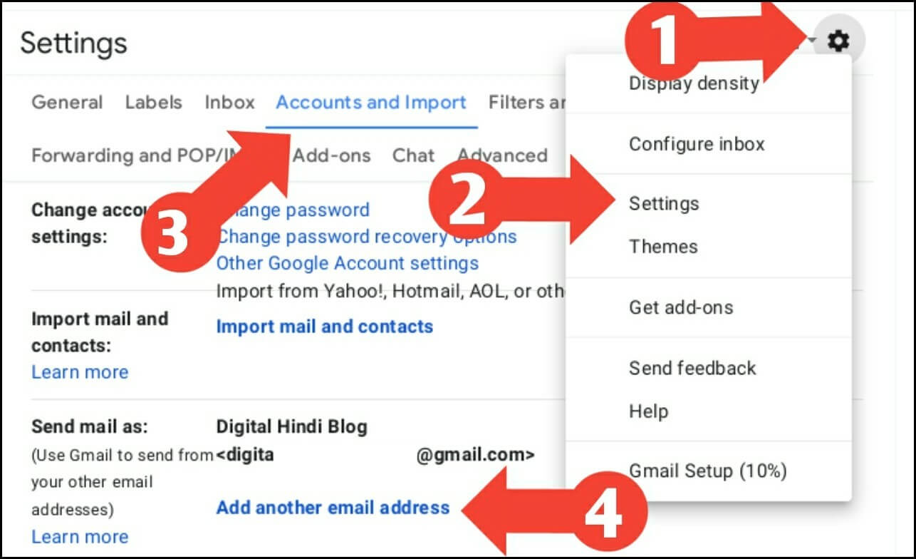 Fill up custom email settings