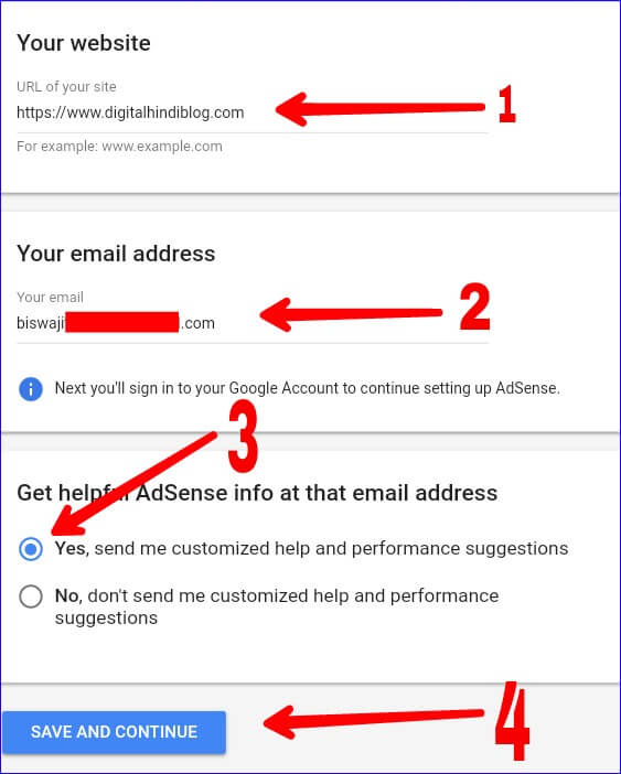 Fillup Google Adsense Details