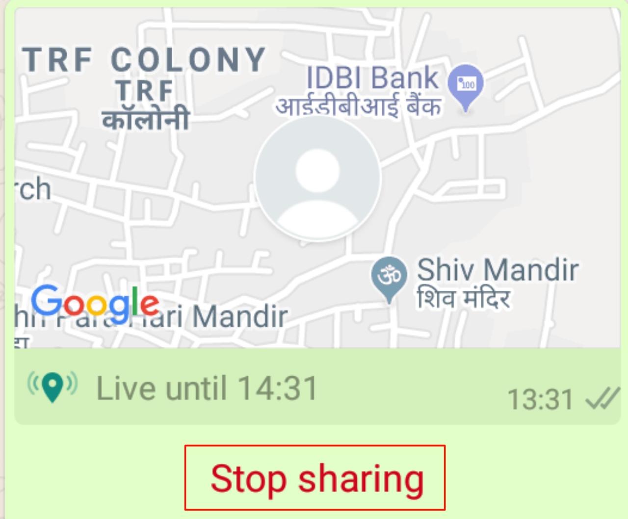 Whatsapp Live Location Sharing Stop